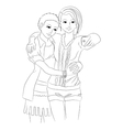 Two cute girls in love vector image