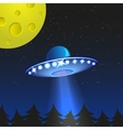 Background with alien spaceship World UFO day vector image
