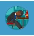 Drunk man sleeping in bar vector image