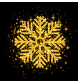 Shine Golden Snowflake covered with Glitter on vector image