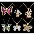 set of butterfly pendants with precious stones vector image