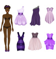 dress-up doll with an assortment of purple prom vector image