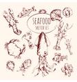 Seafood Sketch Set vector image