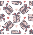 Seamless gift pattern vintage gift boxes with vector image