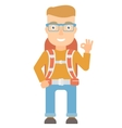 Backpacker showing ok sign vector image