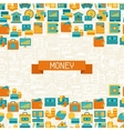 Seamless pattern of banking icons vector image