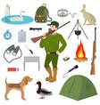 cartoon hunter hunting equipment wildfowl vector image