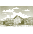 Woodcut Barn Yard vector image