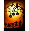 halloween tree at sunset vector image