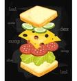 Sandwich Ingredients on Chalkboard vector image