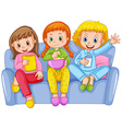 Three girls at slumber party vector image