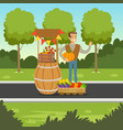 cheerful farmer man selling vegetables at the vector image