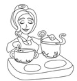housewife cooking soup vector image