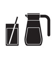 juice jug and mug outline icon vector image