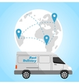 Delivery truck on background of globe vector image
