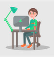 cartoon man sits at table with laptop vector image