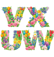Alphabet of flowers WVUX vector image
