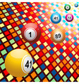 Bingo balls on coloured 3D mosaic background vector image vector image