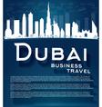 Dubai City skyline with white skyscrapers vector image
