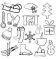 doodle winter pictures vector image