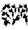lot of black silhouette graphic tattoo machines vector image