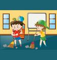 two boys sweeping classroom floor vector image