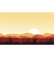 Silhouette of grass on mountain backgrounds vector image