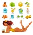Beach sea summer concept design travel symbols vector image