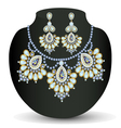 necklace and earrings with pearls vector image