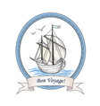 sailing ship summer holiday bon voyage card sail vector image