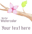 hand-drawn background with watercolor flower on vector image