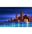 beautiful night cartoon city with moon vector image