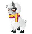 cartoon furry alpaca vector image