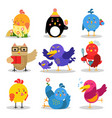cute cartoon birds in different situations vector image