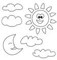 Sun moon and clouds - weather cartoon icons set vector image