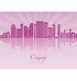 Calgary V2 skyline in purple radiant orchid vector image