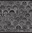 ornamental scallops seamless pattern black vector image
