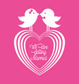 we are greeting married couple birds and heart vector image