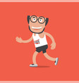 running man on red background vector image vector image