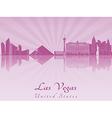 Las Vegas skyline in purple radiant orchid vector image