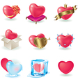 valentine heart icon set vector image vector image
