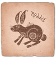 Rabbit Chinese Zodiac Sign Horoscope Vintage Card vector image