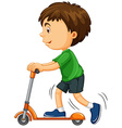 Boy riding on scooter vector image vector image