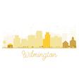 Wilmington City skyline golden silhouette vector image