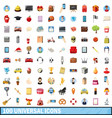 100 universal icons set cartoon style vector image