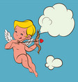 cupid love silhouette with bow and arrow and vector image