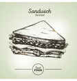 Vintage fast food sandwich sketch vector image
