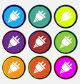 plug icon sign Nine multi colored round buttons vector image