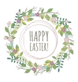 Easter greeting card with wreath from floral vector image