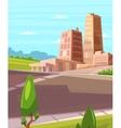 beautiful sunshine over cartoon city with vector image